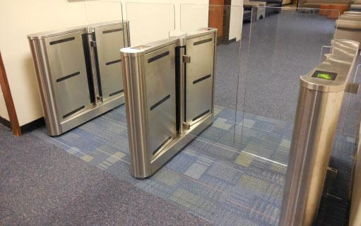 glass optical turnstile with secure access